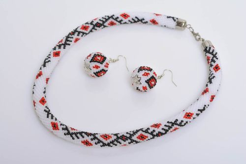 Set of handmade bead woven jewelry in ethnic style cord necklace and earrings - MADEheart.com