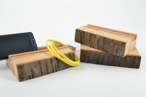 Set of homemade decorative natural wooden tablet stands 3 items gadget accessory - MADEheart.com