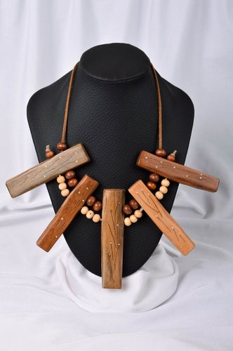 Wooden necklace handmade necklace wooden jewelry fashion necklaces for women - MADEheart.com