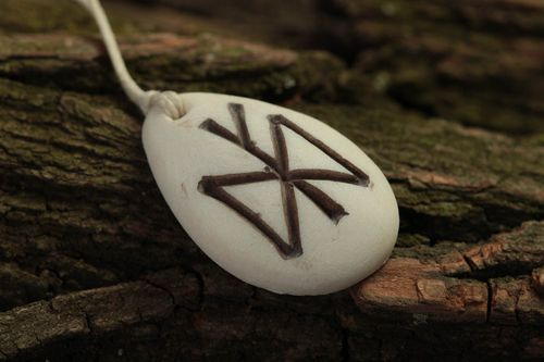 Handmade rune pendant accessory with runes polymer resin jewelry for women - MADEheart.com