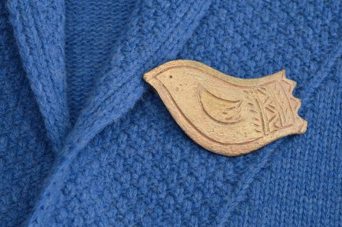 Handcrafted bird clay brooch designer fashion jewelry women unique accessory - MADEheart.com