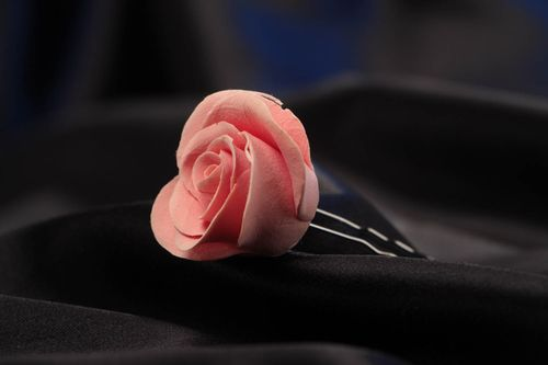 Handmade decorative hair pin with polymer clay rose flower of pink color - MADEheart.com