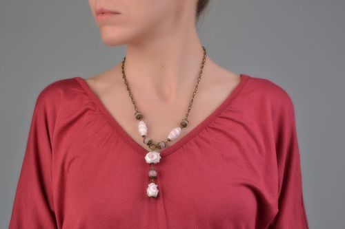 Unusual beautiful handmade glass bead necklace of light color - MADEheart.com