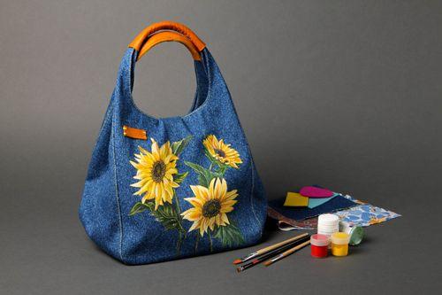 70bbce6fc19d Сумка ручной работы женская сумка авторская тканевая сумка джинсовая с  цветами