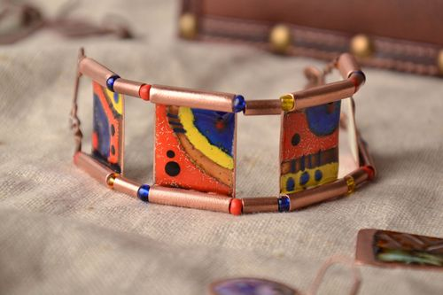 Copper bracelet with colorful painting - MADEheart.com