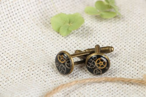 Cuff links with watch details in steam punk style - MADEheart.com