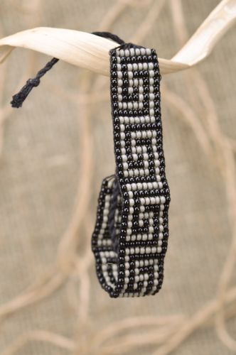 Handmade wide woven bead bracelet with ties in antique style - MADEheart.com