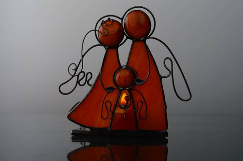 Stained glass candlestick Family Happiness  - MADEheart.com