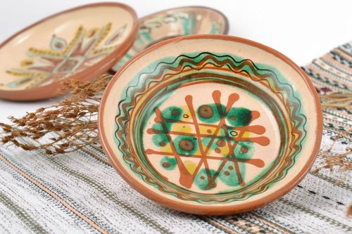 Handmade decorative patterned ceramic wall plate with glaze painting  - MADEheart.com