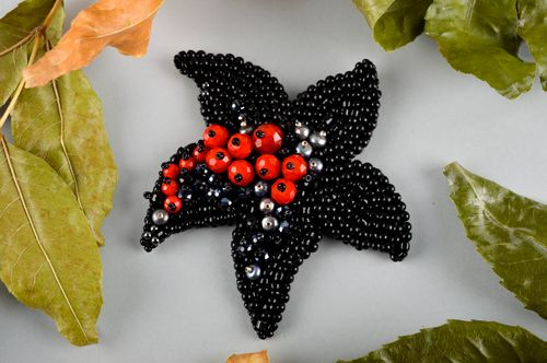 Handmade black leather brooch stylish beaded brooch designer accessory - MADEheart.com