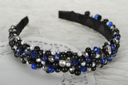 Black and blue beaded hair band - MADEheart.com