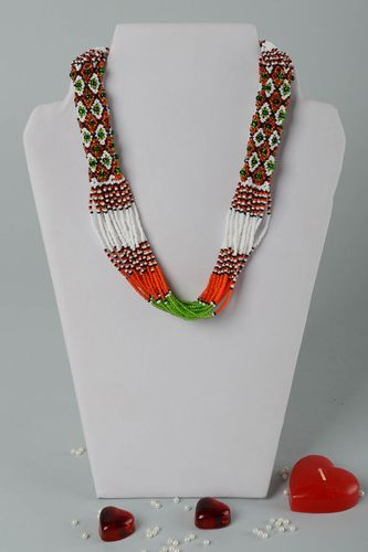 Handmade necklace in ethnic style unusual beaded necklace stylish necklace - MADEheart.com
