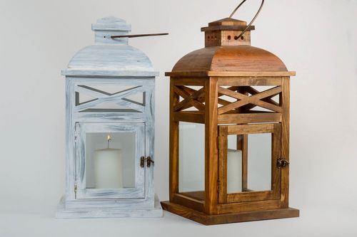 Small handmade decorative hanging wooden lantern with glass door for candle - MADEheart.com