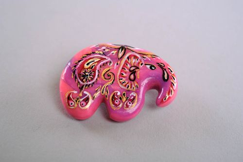 Brooch Made of Polymer Clay Indian Elephant - MADEheart.com