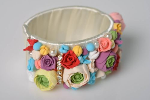 Bracelet made of polymer clay with flowers beautiful handmade accessory - MADEheart.com