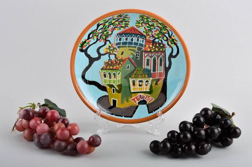 Handmade ceramic wall plate home goods pottery works decorative use only - MADEheart.com