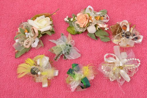 Set of 7 handmade designer artificial flower blanks for jewelry making - MADEheart.com
