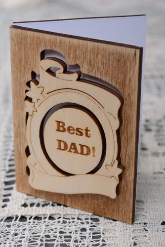 Wooden greeting card Best Dad - MADEheart.com