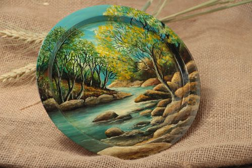 Handmade decorative round wooden wall plate with painting At the river - MADEheart.com