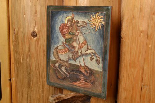 Ceramic tile Saint George painted with engobes beautiful handmade wall panel - MADEheart.com