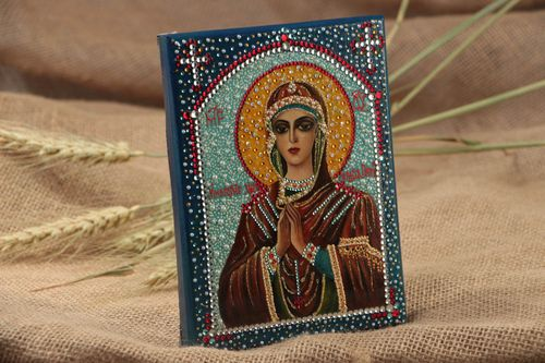 Handmade orthodox wooden icon painted with gouache Softener of Evil Hearts - MADEheart.com