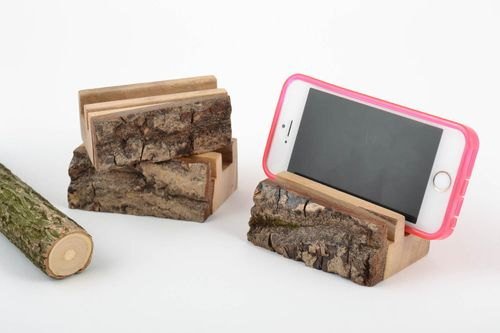 Unusual stylish eco friendly organic wooden cell phone stands set of 3 items - MADEheart.com