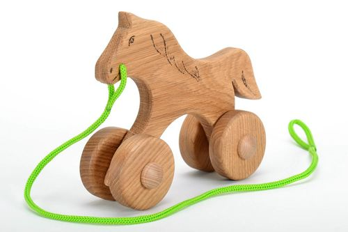 Wooden toy on wheels Horse - MADEheart.com