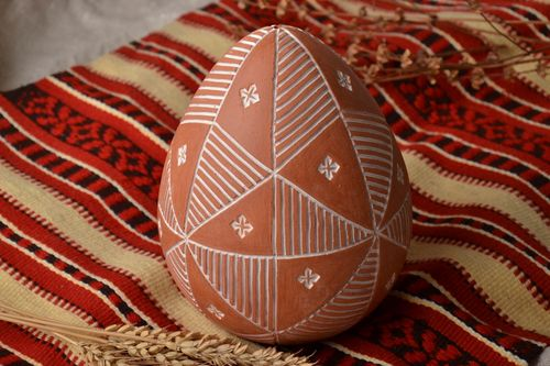 Large painted ceramic egg Sorokoklinka - MADEheart.com