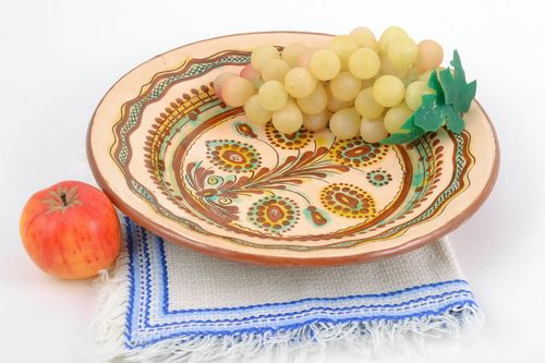 Decorative wall plate with painting clay beautiful colorful handmade pottery - MADEheart.com