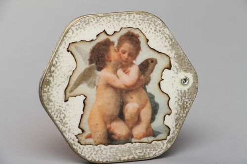 Vintage pocket mirror in decoupage wooden frame Angels - MADEheart.com