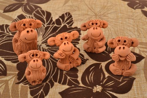 Statuettes made of clay monkeys set of 5 pieces ceramic funny handmade - MADEheart.com