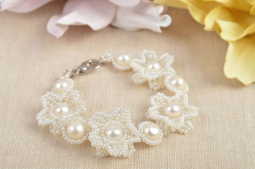 Seed beaded wedding bracelet with pearls unique designer accessory for bride - MADEheart.com