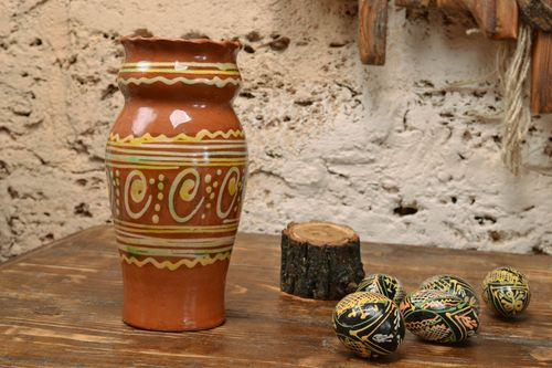 Handmade small decorative painted vase of unusual shape made of clay interior pottery - MADEheart.com