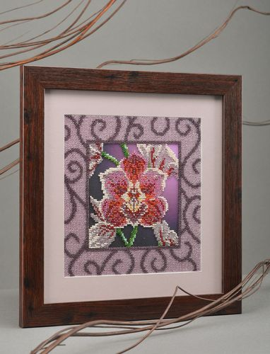 Beautiful handmade wall picture embroidered with beads in frame Orchid  - MADEheart.com