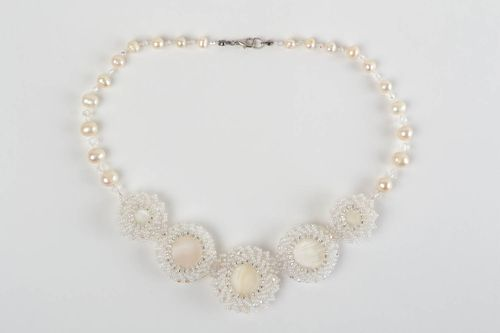 Beautiful white handmade necklace made of beads and natural stone Bride - MADEheart.com