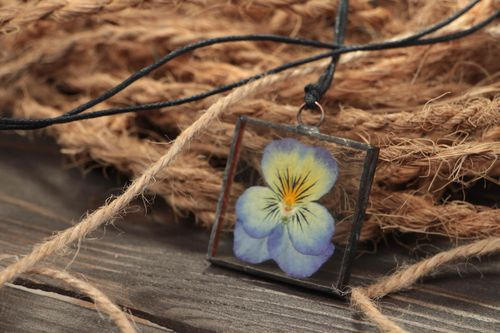 Beautiful handmade stained glass pendant with real flower Pansies for women - MADEheart.com