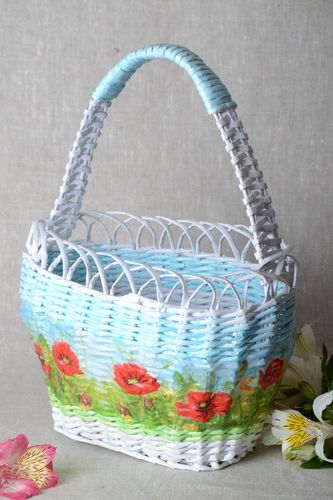 Woven basket made of paper rod in blue shades with painting handmade - MADEheart.com