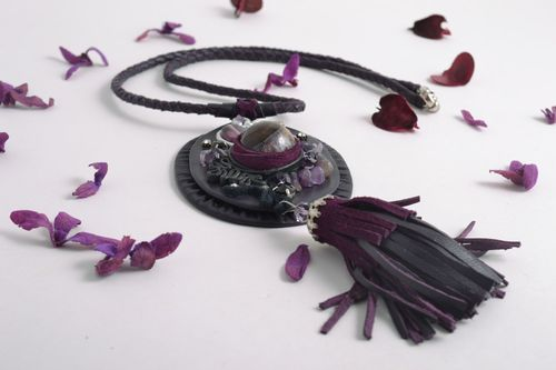 Handmade beautiful leather pendant on a long cord with with natural amethyst stone - MADEheart.com
