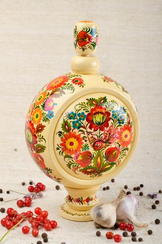 11 inches tall wooden wine decorative carafe with Russian patterns and lid 1,4 lb - MADEheart.com