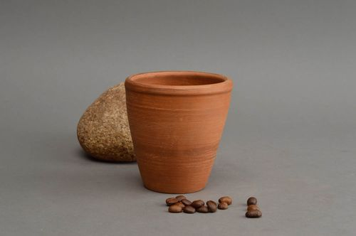 Clay cup 180 ml brown handmade ceramic mug kitchen pottery home decor ideas - MADEheart.com