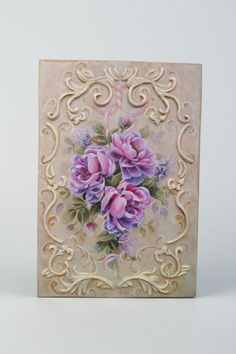 Handmade decoupage plywood wall key holder with three hooks Lilac Roses - MADEheart.com