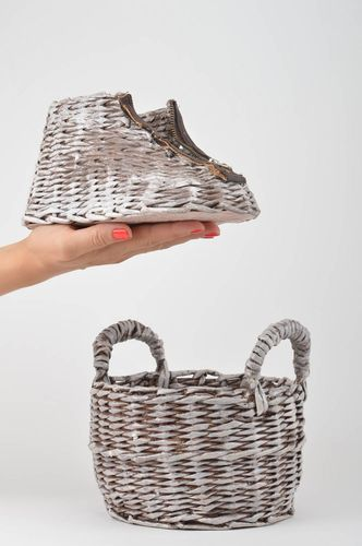 Handmade decorative woven basket paper basket 2 pieces newspaper craft - MADEheart.com