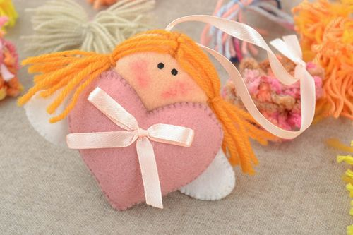 Handmade lovely soft home interior hanging toy angel with heart - MADEheart.com
