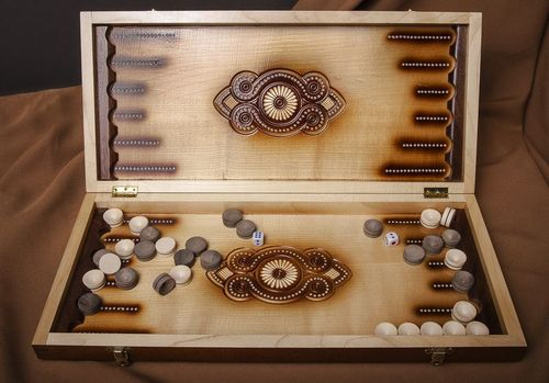 Wooden carved backgammon - MADEheart.com