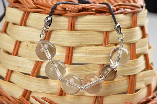 Handmade quartz necklace jewelry made of natural stones stylish accessory - MADEheart.com