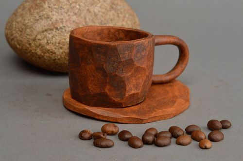 Unusual handmade ceramic cup and saucer patterned clay cup decorative drinkware - MADEheart.com