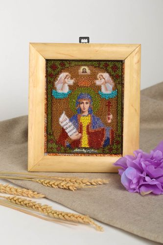 Handmade icon orthodox icon small image of a saint religious gift beaded icon  - MADEheart.com