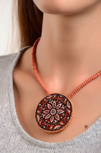 Ethnic jewelry handmade necklace ceramic jewelry pendant necklace gifts for her - MADEheart.com