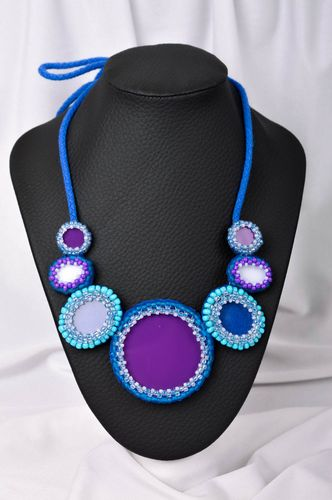 Handmade textile necklace beaded necklace beadwork ideas gifts for her - MADEheart.com