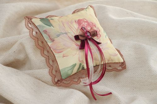 Vintage handmade floral wedding ring pillow with lace and violet ribbons - MADEheart.com